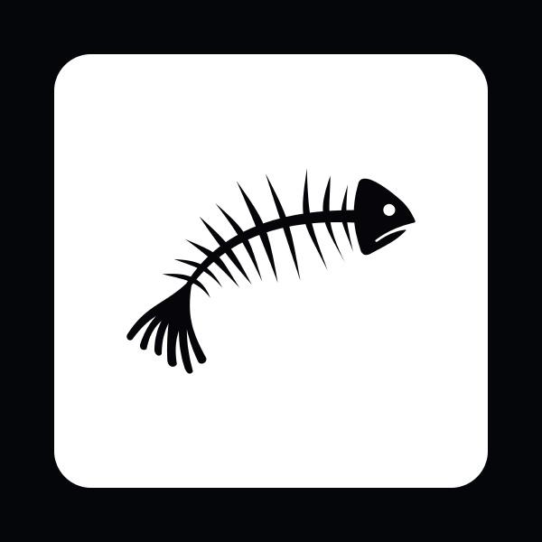 fish bones icon simple style