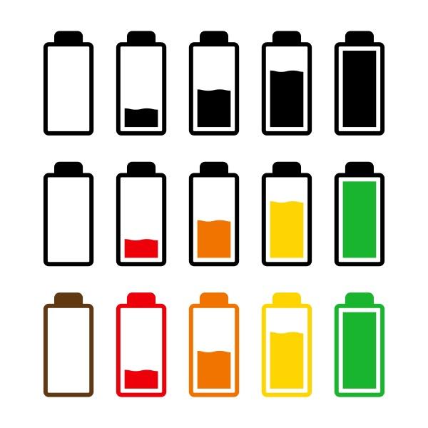battery charge level icon set symbol