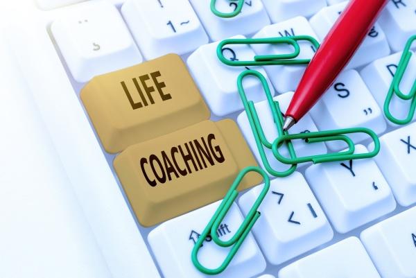 conceptual caption life coaching business approach