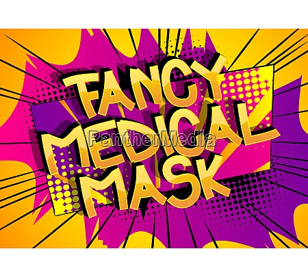 fancy medical mask comic book style