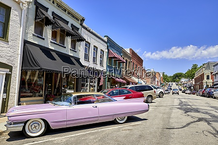 a pink 60s cadillac in the